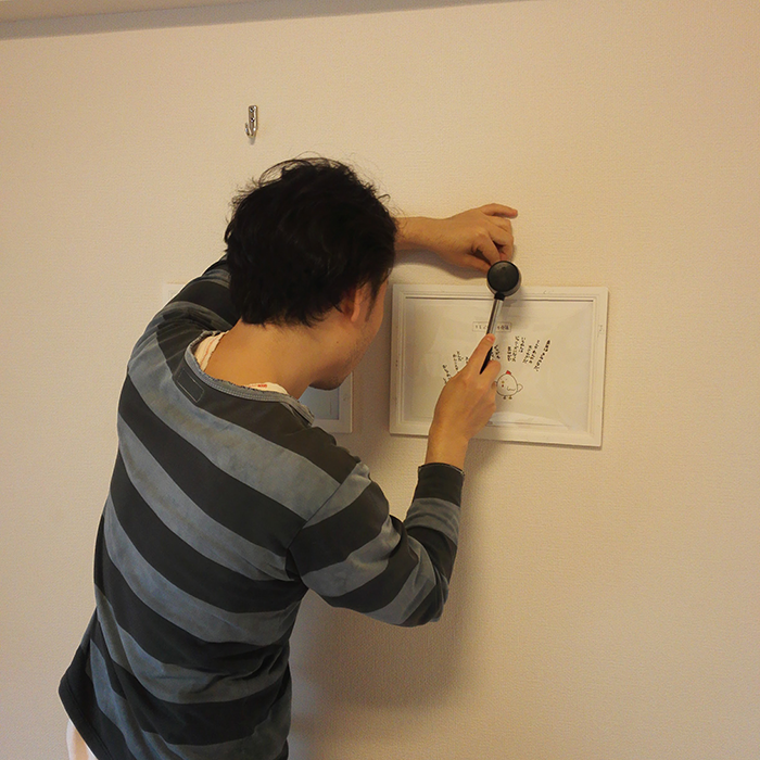 原画を壁に貼って、原画展です